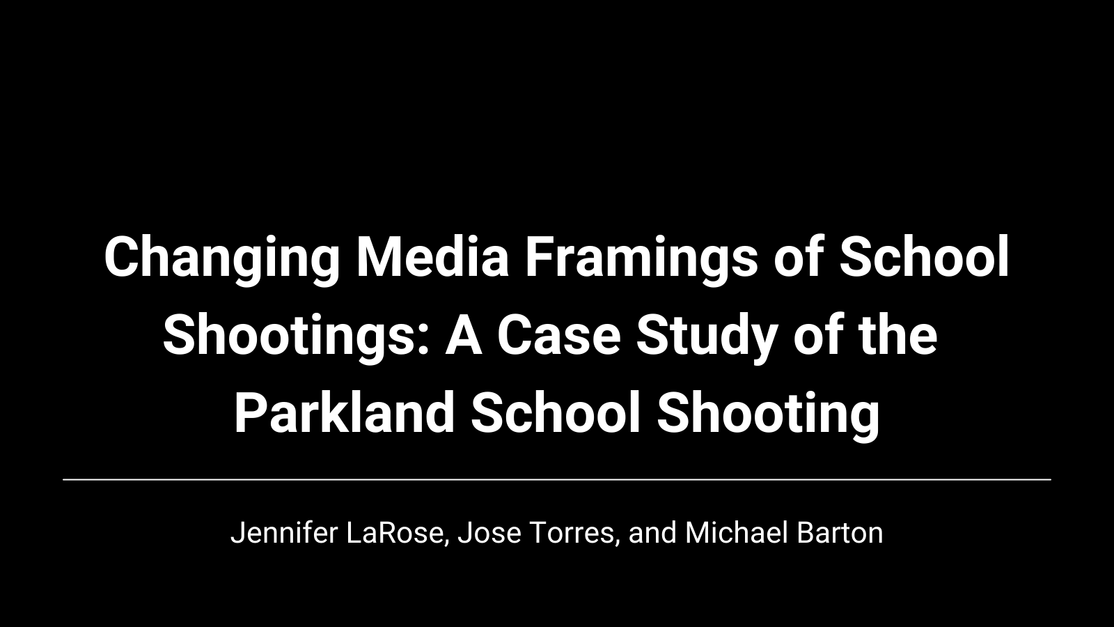 Changing Media Framings of School Shootings: A Case Study of the Parkland School Shooting