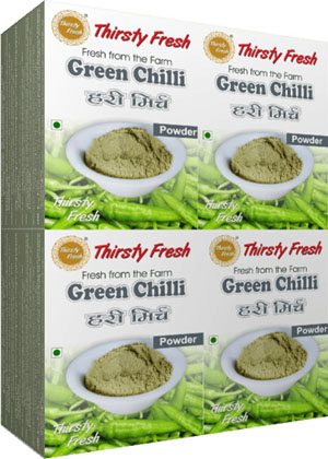 Thirsty Fresh Dehydrated Green Chili Powder Wholesale Box Pack Front View