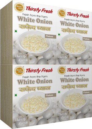 Thirsty Fresh Dehydrated White Onion Flakes Wholesale Box Pack Front View