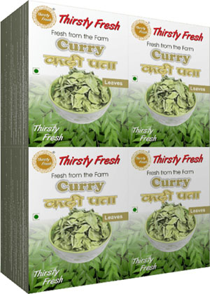 Thirsty Fresh Dehydrated Curry Leaves Wholesale Box Pack Front View