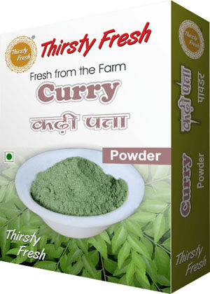 Thirsty Fresh Dehydrated Curry Leaves Powder Box Front View