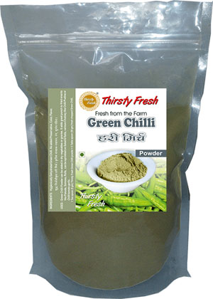 Thirsty Fresh Dehydrated Green Chilli Powder Zipper Front View