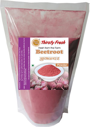 Thirsty Fresh Dehydrated Beetroot Powder Zipper Front View