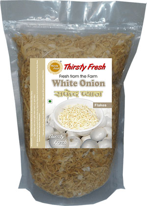 Thirsty Fresh Dehydrated White Onion Flakes Zipper Front View