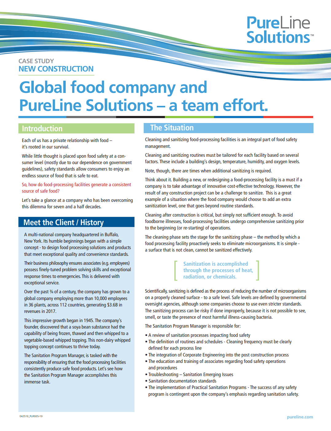 Case: Global food company post construction sanitization