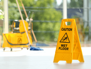 janitorial services caution wet floor sign