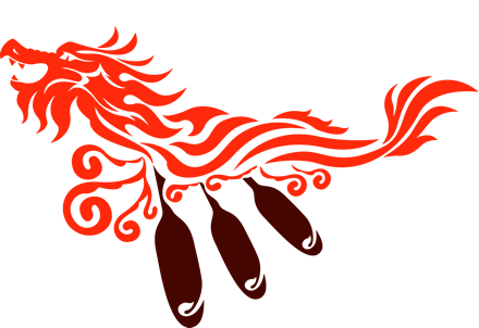 Stylized red dragon with 3 paddles.