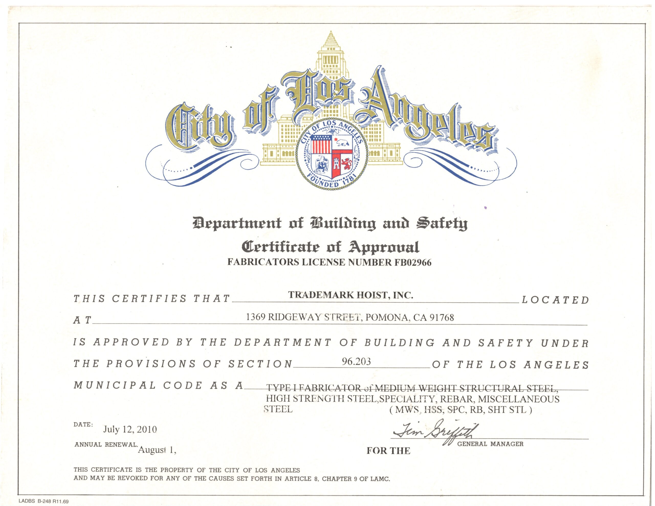 City of Los Angeles Fabricators License No. FB02966