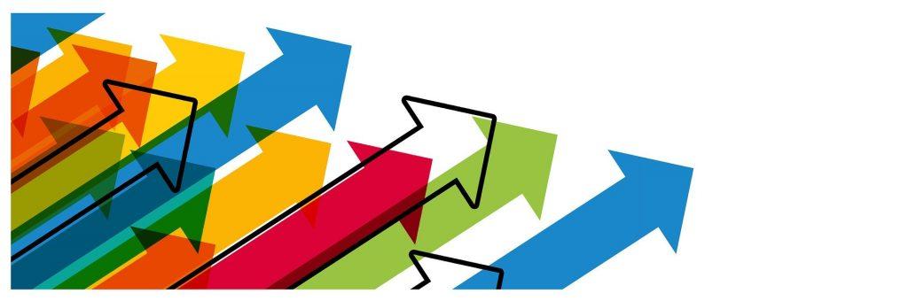 Relacionamento Corporate - Startup (Flechas Coloridas apontando para cima e direita)
