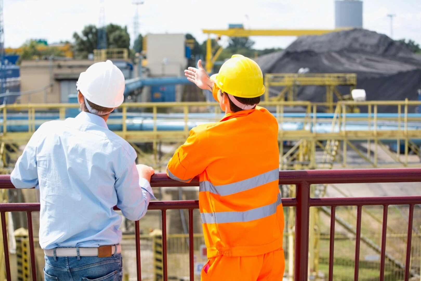 Construction workers implementing construction management practices near Washington, DC