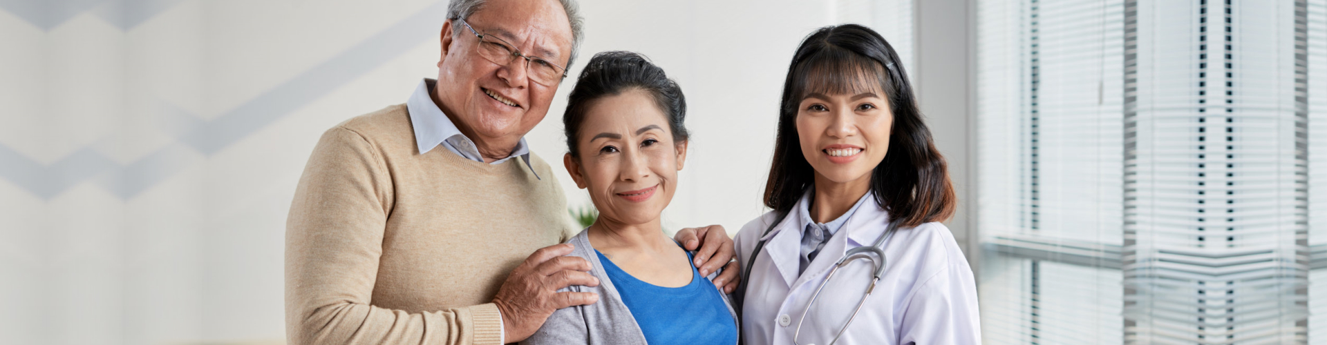 senior couple with skilled healthcare staff