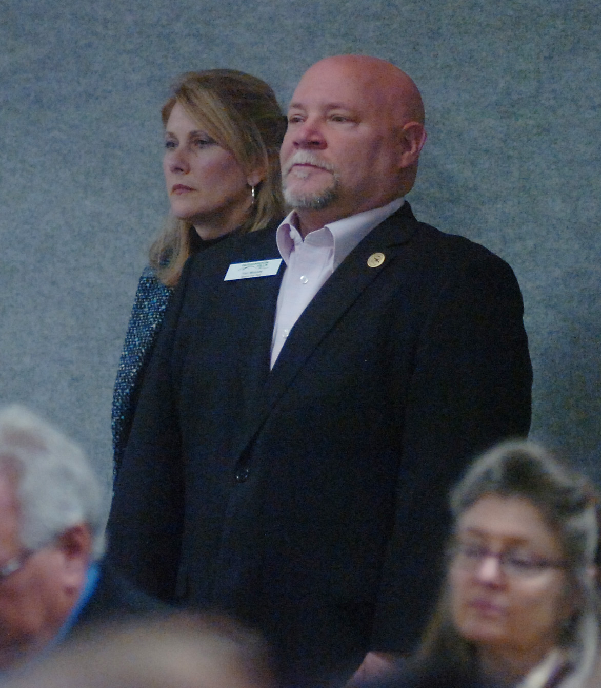 Ken Massey listens to Suecide prevention speaker Jordan Burnham.He was responcible for Burnham being at the Costick  Center.