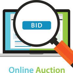 online bidding auction laptop bid button concept icon vector