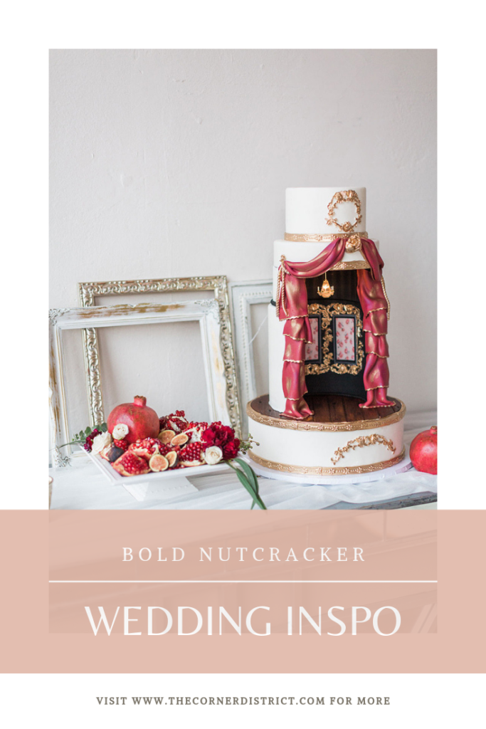 We're sharing our favorite details of this Modern Nutcracker Winter Wedding Inspiration that was featured on Glamour and Grace! #thecornerdistrict #northgeorgiaweddingvenue #winterwedding #christmaswedding #nutcrackerwedding