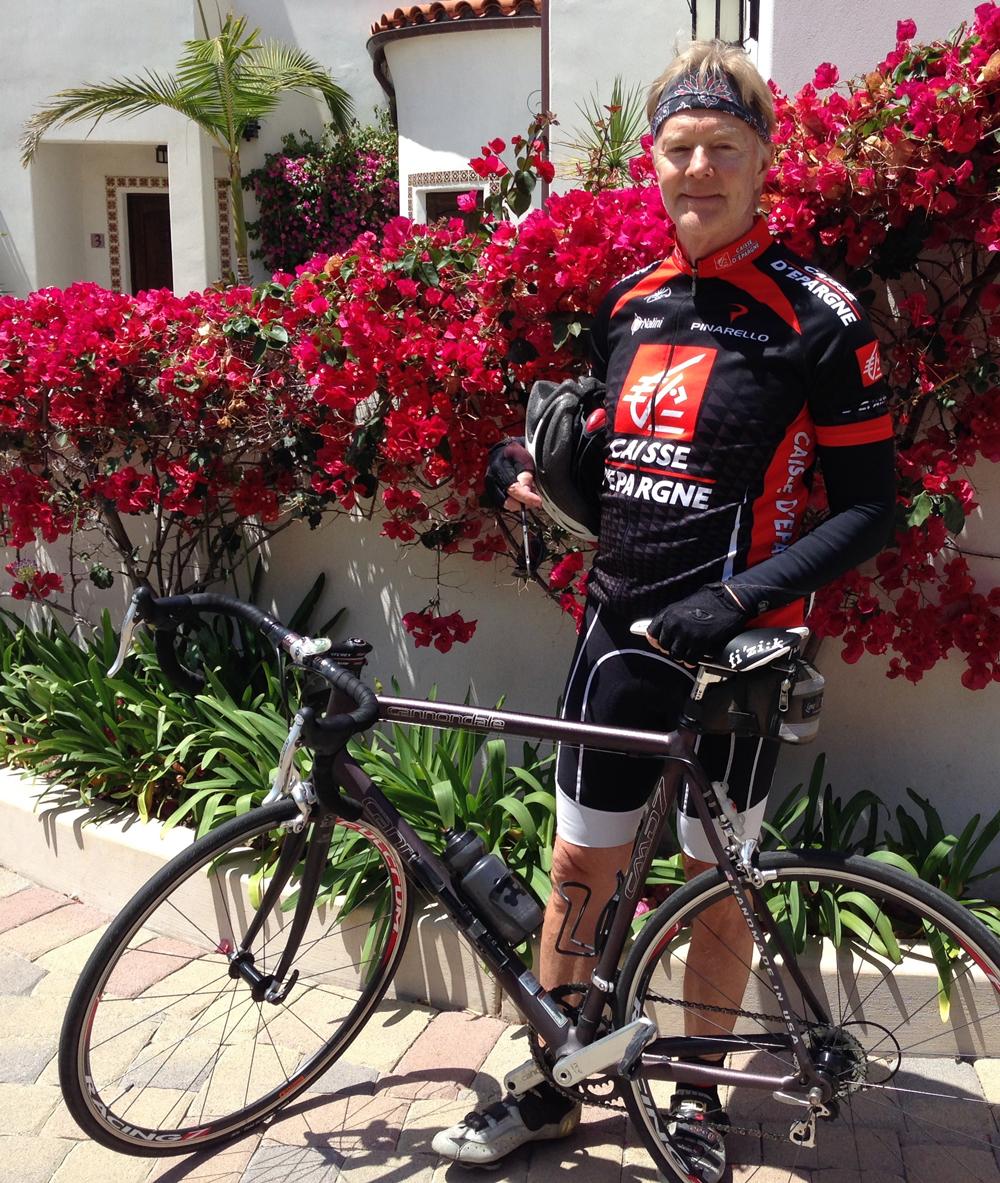 Bruce with his bike in Santa Barbara