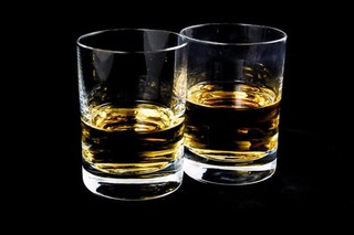 Two Shot Glasses with Booze