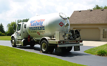 Ludwig Propane truck parked in front of residential home