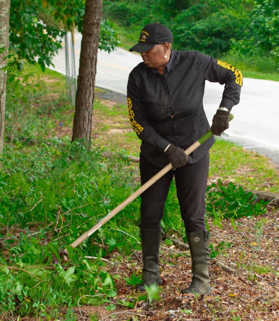 Woman raking
