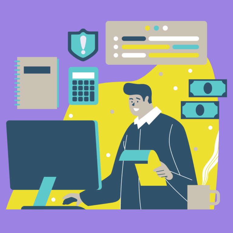 A cartoon man sitting at his desk looking at documents, a coffee on his desk, money floating around, a warning sign, calculators and ledgers. The image symbolizes a busy person starting a company but they should be cautious of legal issues.