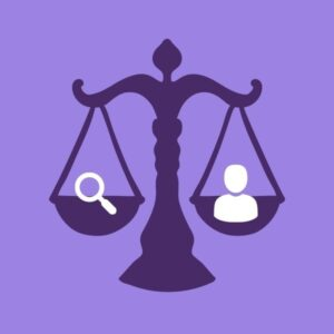 Purple background with a Darker Purple weight scale balancing a search magnifying glass with a human figure resembling a lawyer.