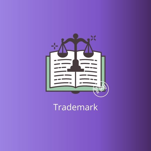 Gradient Purple square, with a book and weight scales centered, including a mark symbolizing trademark, and on the below a trademark word.