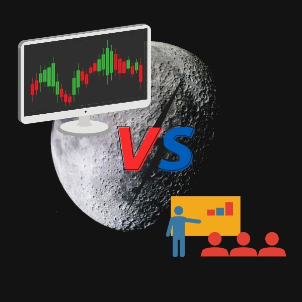 In the background is a picture of the moon, the upper left corner is a platform symbolized by a computer drawing, and in the lower right corner is a few people discussing countermeasures.The two sides are separated by a vs graphic that represents a confrontational.