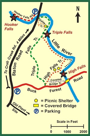 DuPont State Forest Waterfall Map