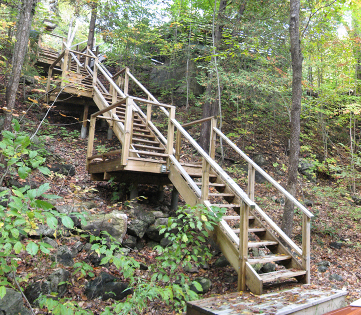 Exterior stair, panorama looking north