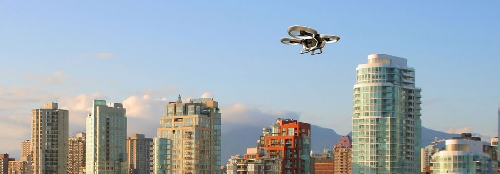 Example of Air taxi's flying over downtown Vancouver