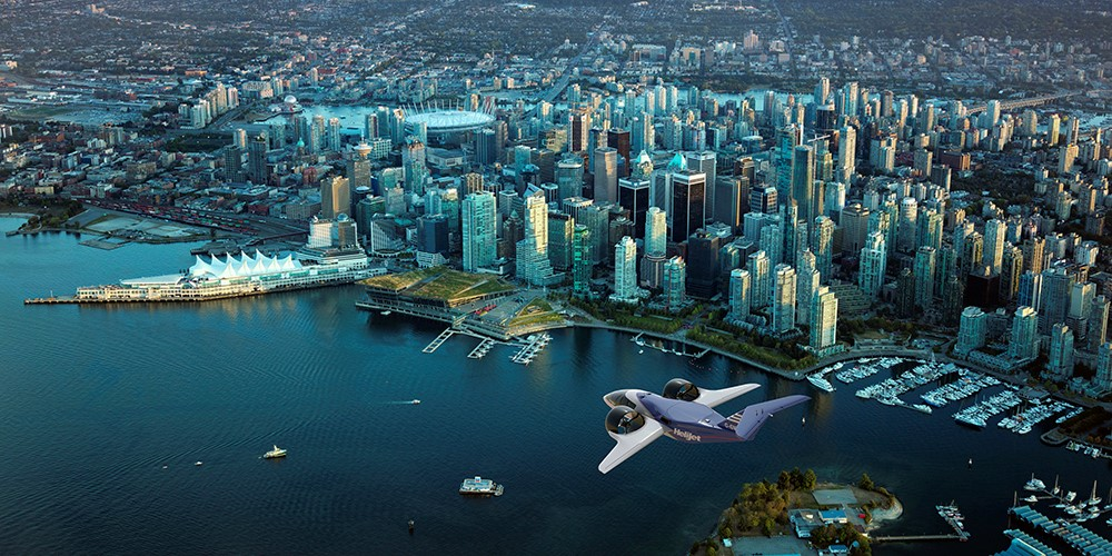 Artist Rendering of possible Advanced Air Mobility technology over downtown Vancouver