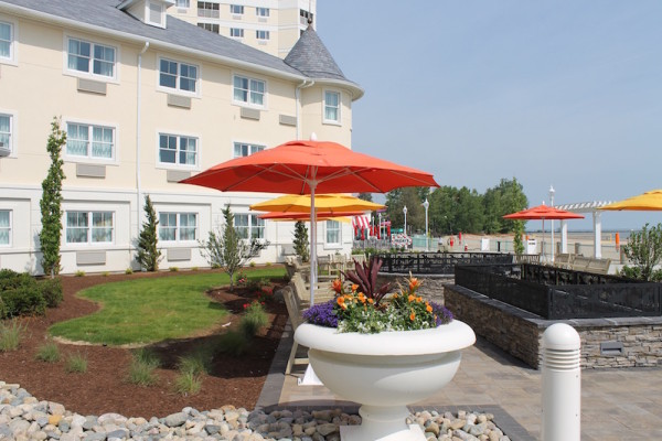 The back patio at Cedar Point Hotel Breakers