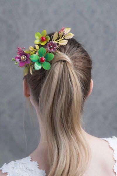 wedding hair comb elegant bridal accessories floral custom jewelry