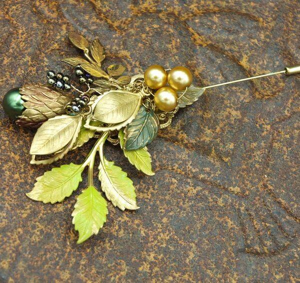 custom boutonniere wedding lapel pin groom's accessories jewelry