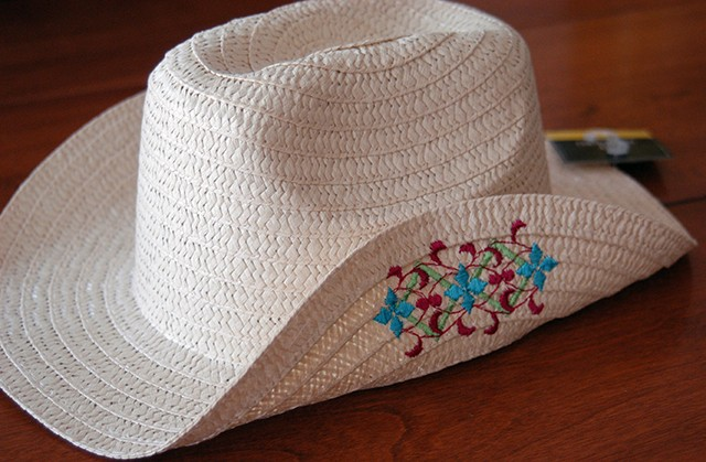 embroidery on straw