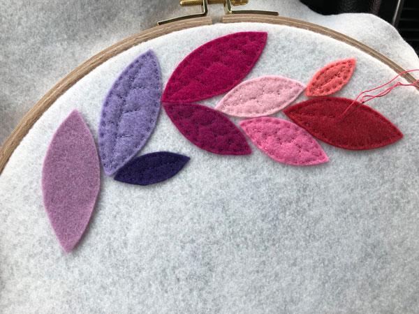 leaves for rainbow felt wreath