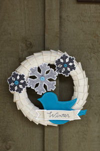 winter wreath with felt applique and hand embroidery