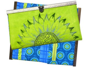 embroidered sunflower wallet