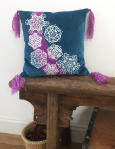snowflake embroidered pillow