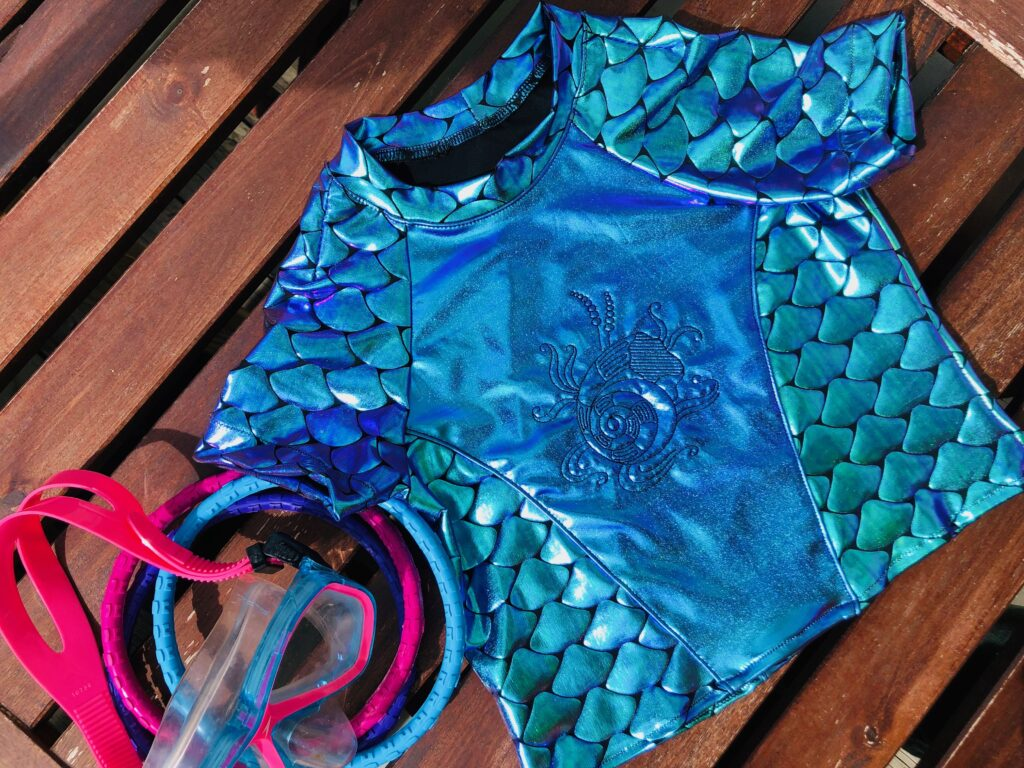 machine embroidery on swimsuits