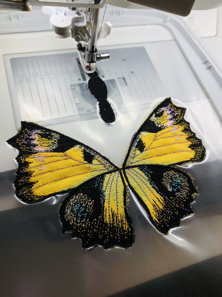 3-D Butterfly machine embroidery
