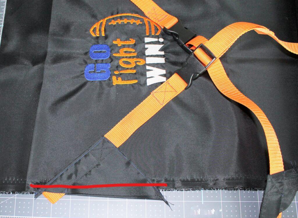 DIY stadium seat webbing stitches