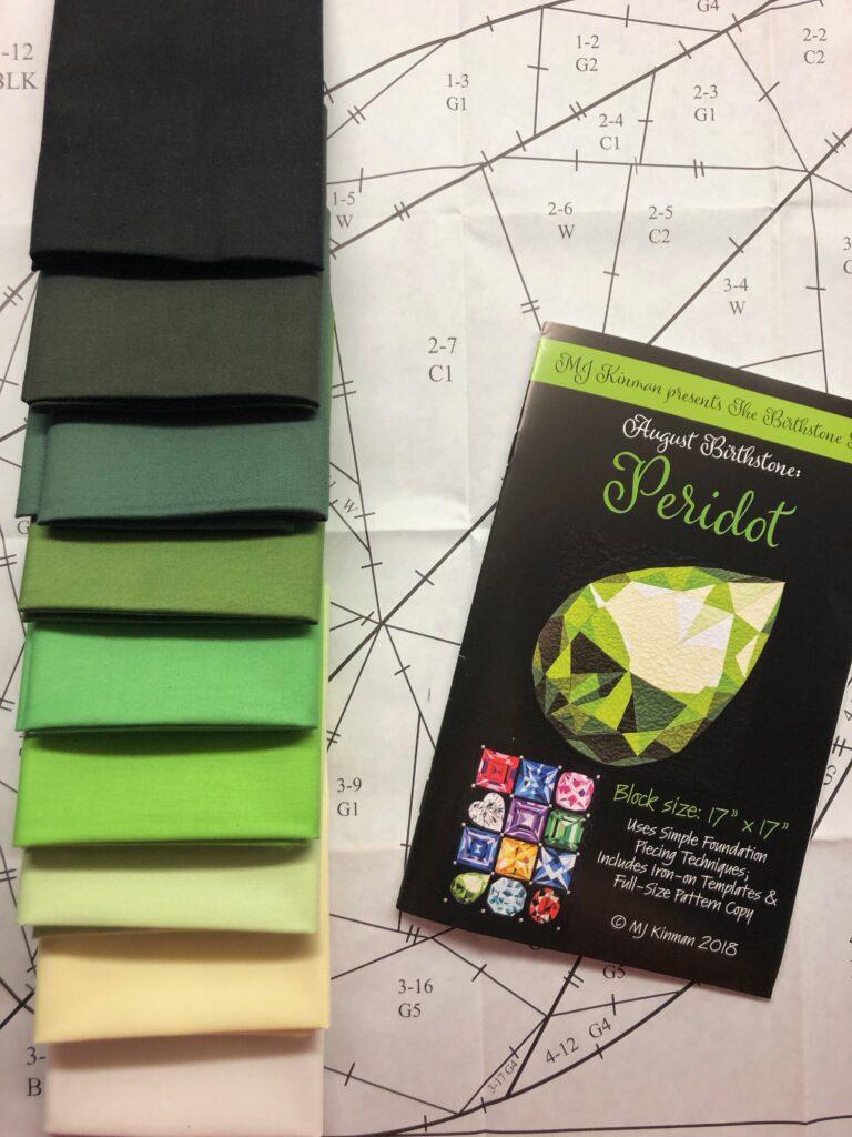 August Birthstone Block fabric colors