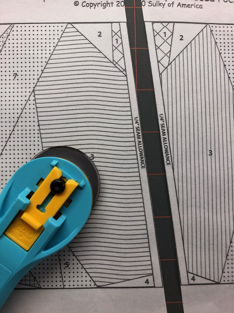 paper piecing pattern with rotary cutter