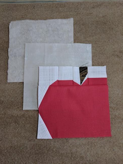 paper pieced apple mug rug