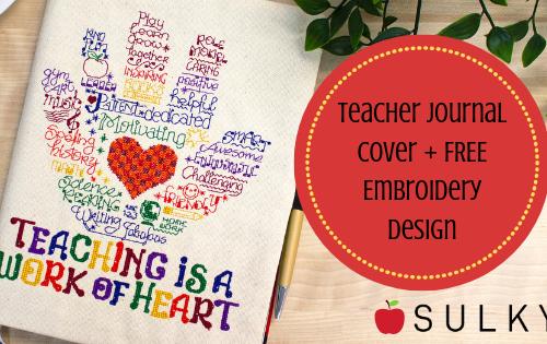 Machine Embroidered Teacher Journal