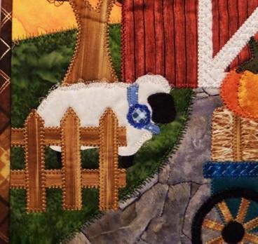 fall applique mini quilt stitching