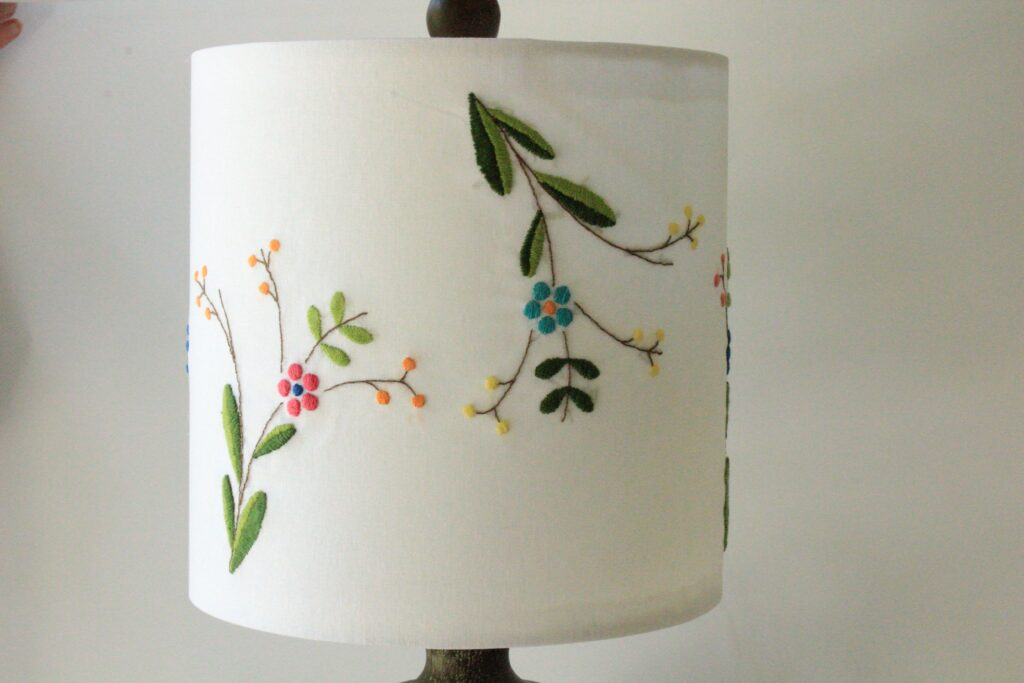 Embroider Lampshade with Heavy Threads