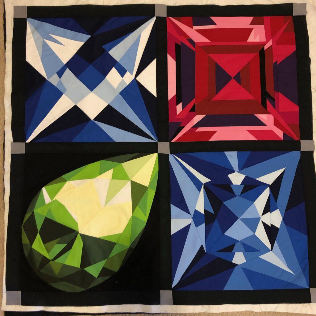 four birthstone blocks stitched together