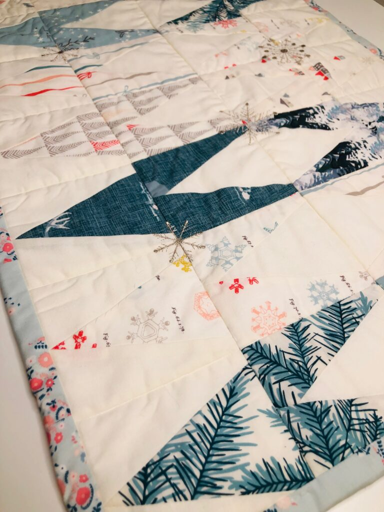 winter table runner with snowflakes
