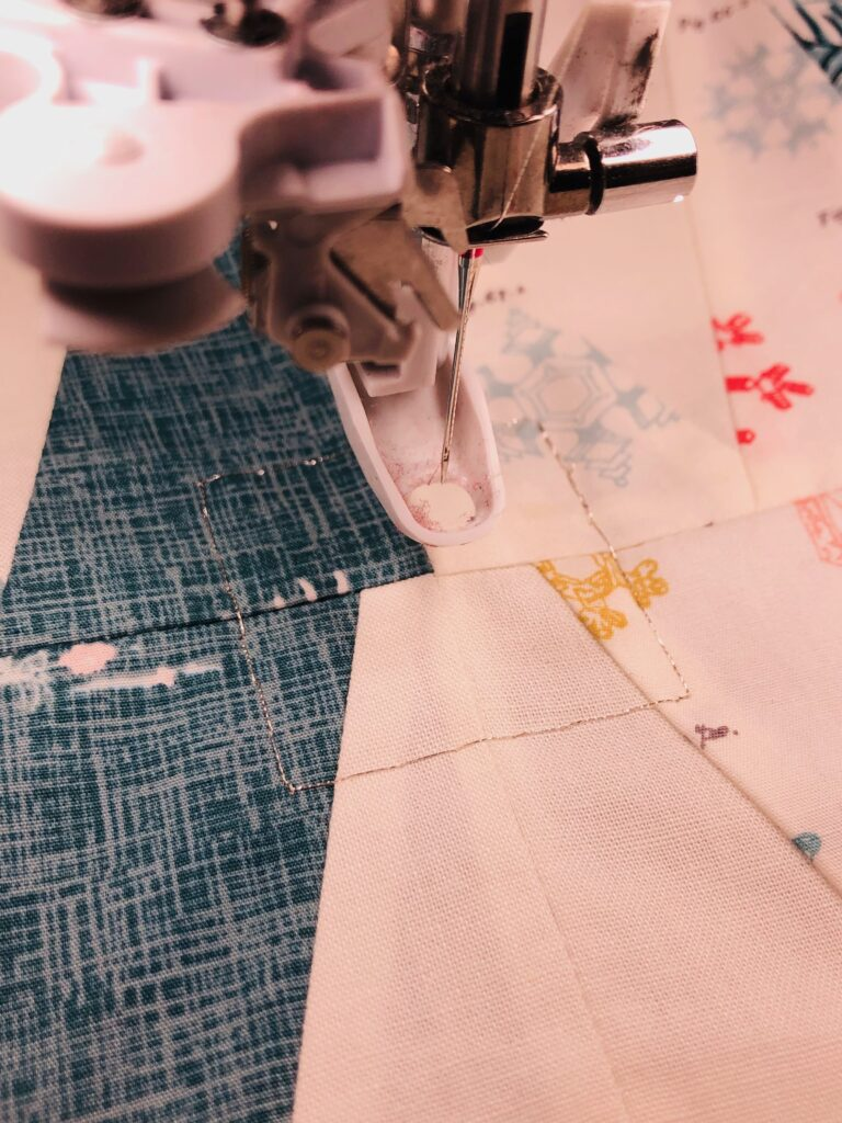 needle placement for embroidery on table runner